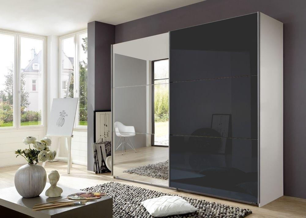 Schwebetürenschrank Match Up 270,0 cm Weiß mit Grauglas Spiegel 7206