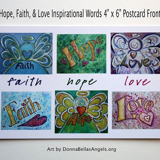 collage of paintings featuring inspirational words of faith hope and love the following
