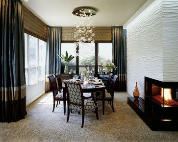 I am in love with the seating in this dining room - great pattern