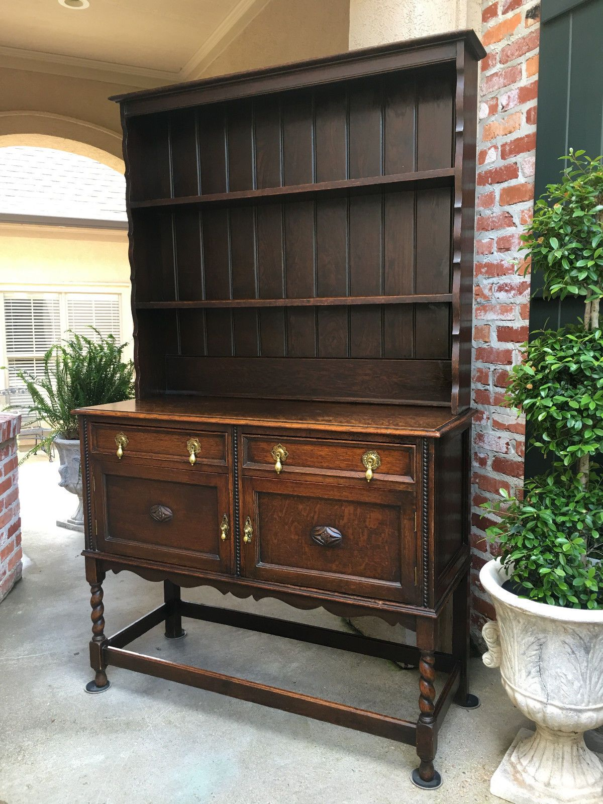 Antique English Oak Welsh Dresser Sideboard Hutch BARLEY TWIST Jacobean Buffet