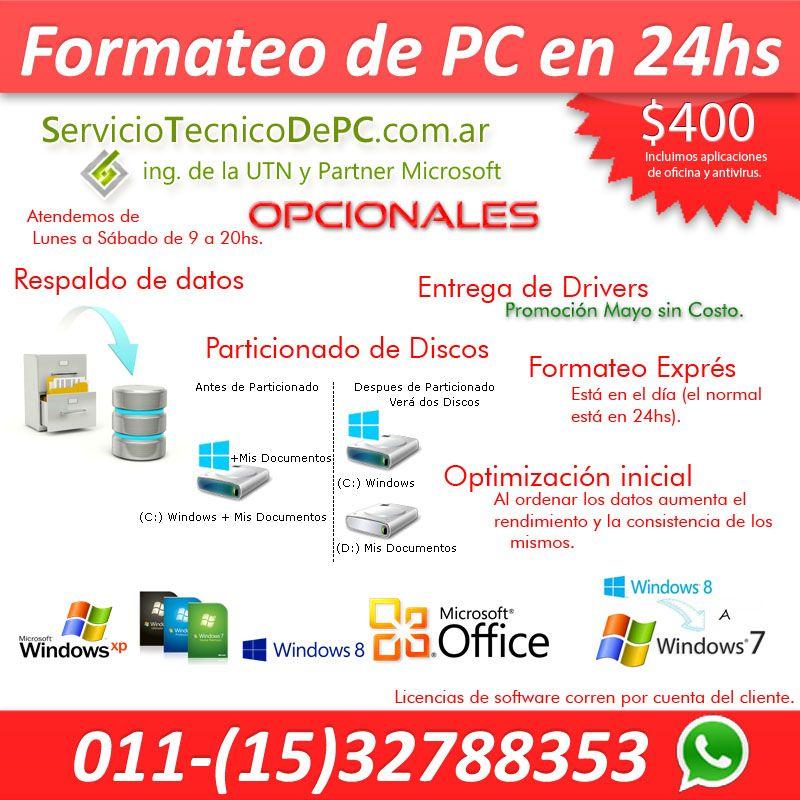 Formateo windows instalacion sistema serviciotecnicodepc.com.ar