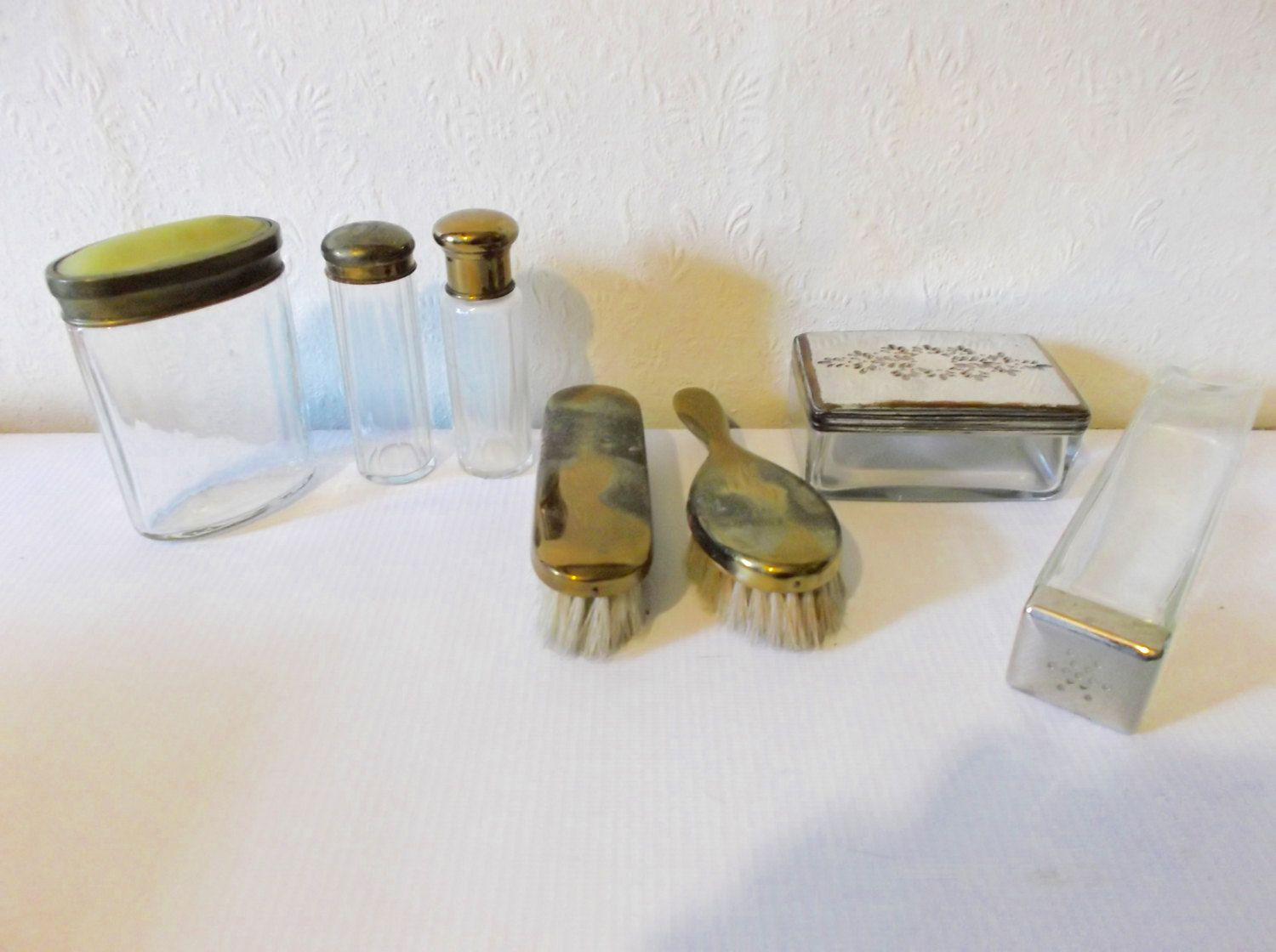 Antique grooming set edwardian vanity set boudoir apothecary antique edwardian vanity set boudoir apothecary bottles by retromagination on etsy geotapseo Gallery