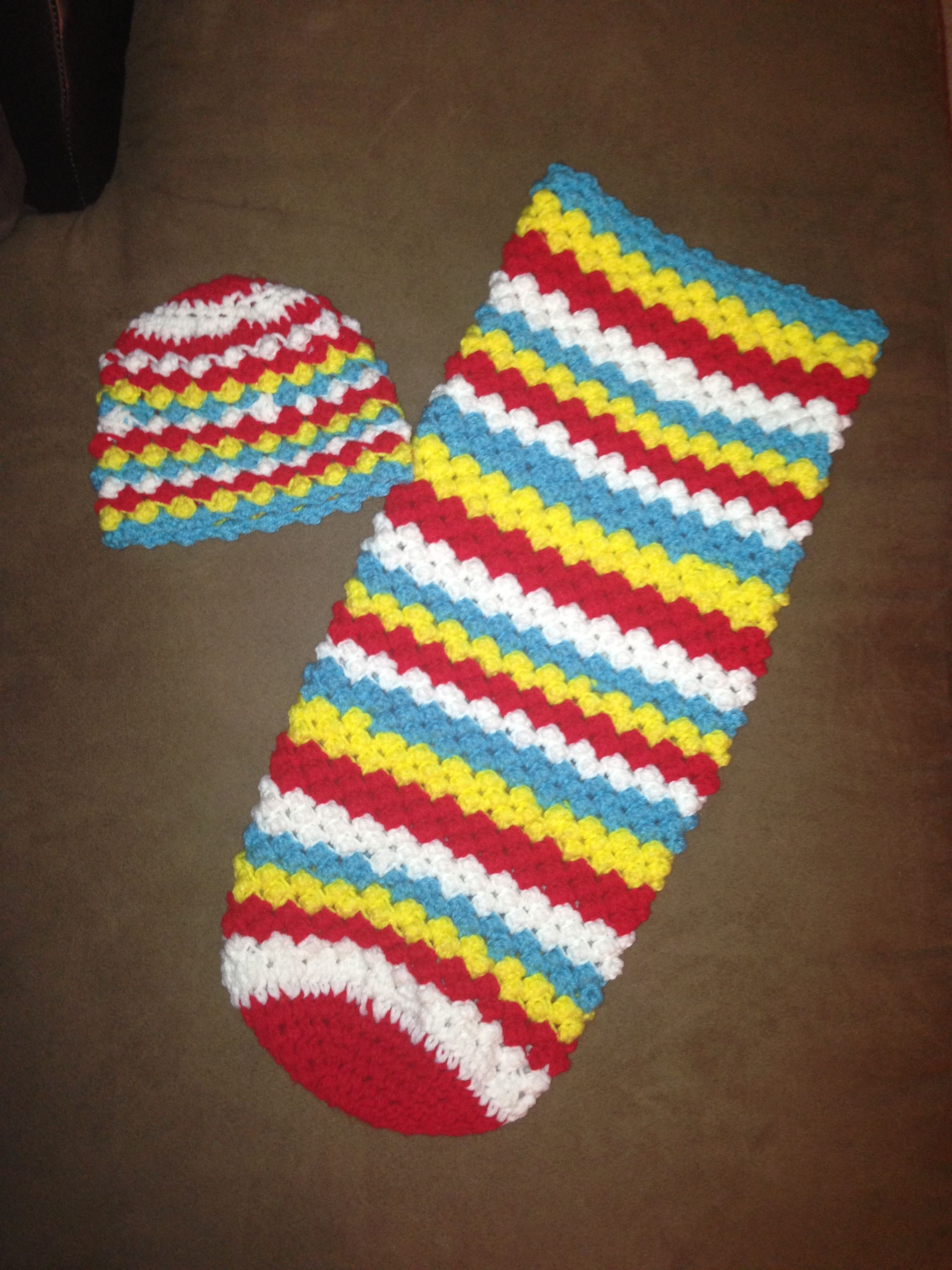 Dr. Seuss inspired baby cocoon and hat. Raspberry crochet stitch ...