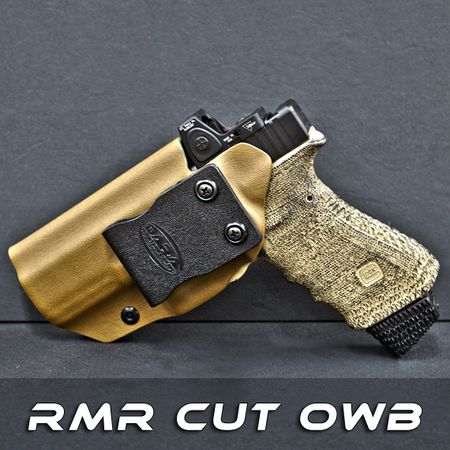 Our Custom OWB Holster with Trijicon RMR cut is designed to