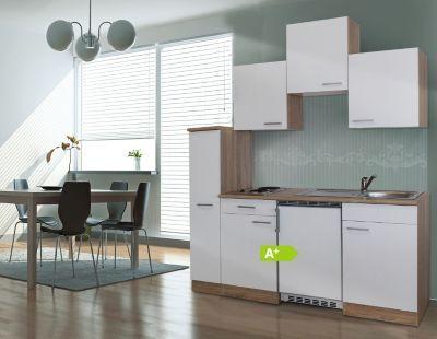 Respekta Küchenzeile KB180ESW 180 cm Weiß-Eiche Sägerau - küchenblock 270 cm