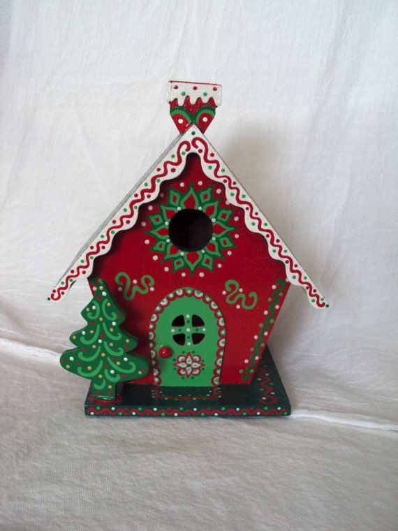 Christmas Birdhouses Crafts.Handpainted Christmas Birdhouse Gingerbread Style By