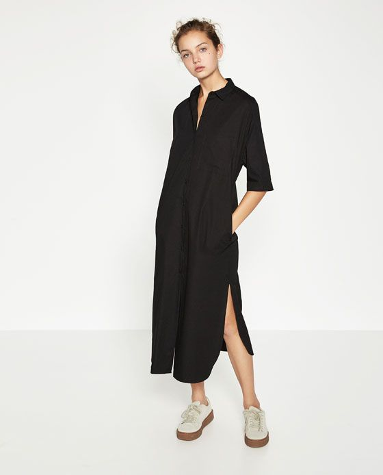 045c8a7a6280 EXTRA-LONG SHIRT DRESS from Zara All Black Outfit, White Outfits, Fast  Fashion