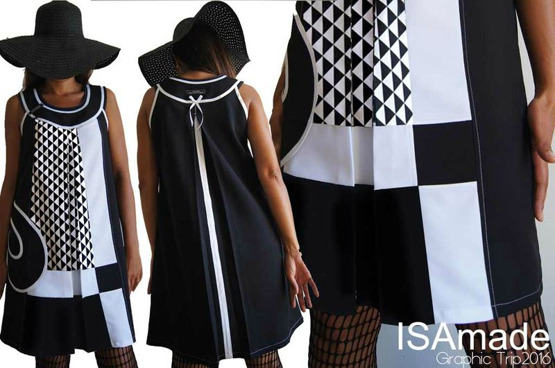 52f354d452e6c MOD 402B Robe bicolore noire et blanc Chic motif triangle Graphique made in  France Chic Originale
