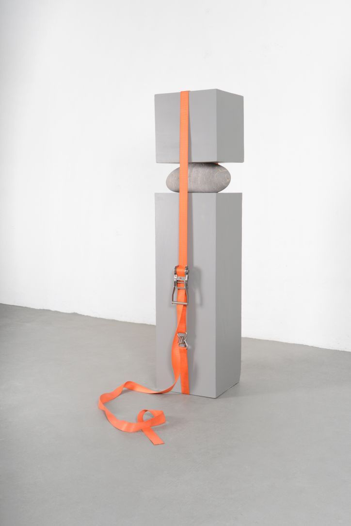 "Jose Dávila: The Elephant and the Feather | Marfa Contemporary | ""Joint Effort,"" concrete, boulder, and ratchet strap"