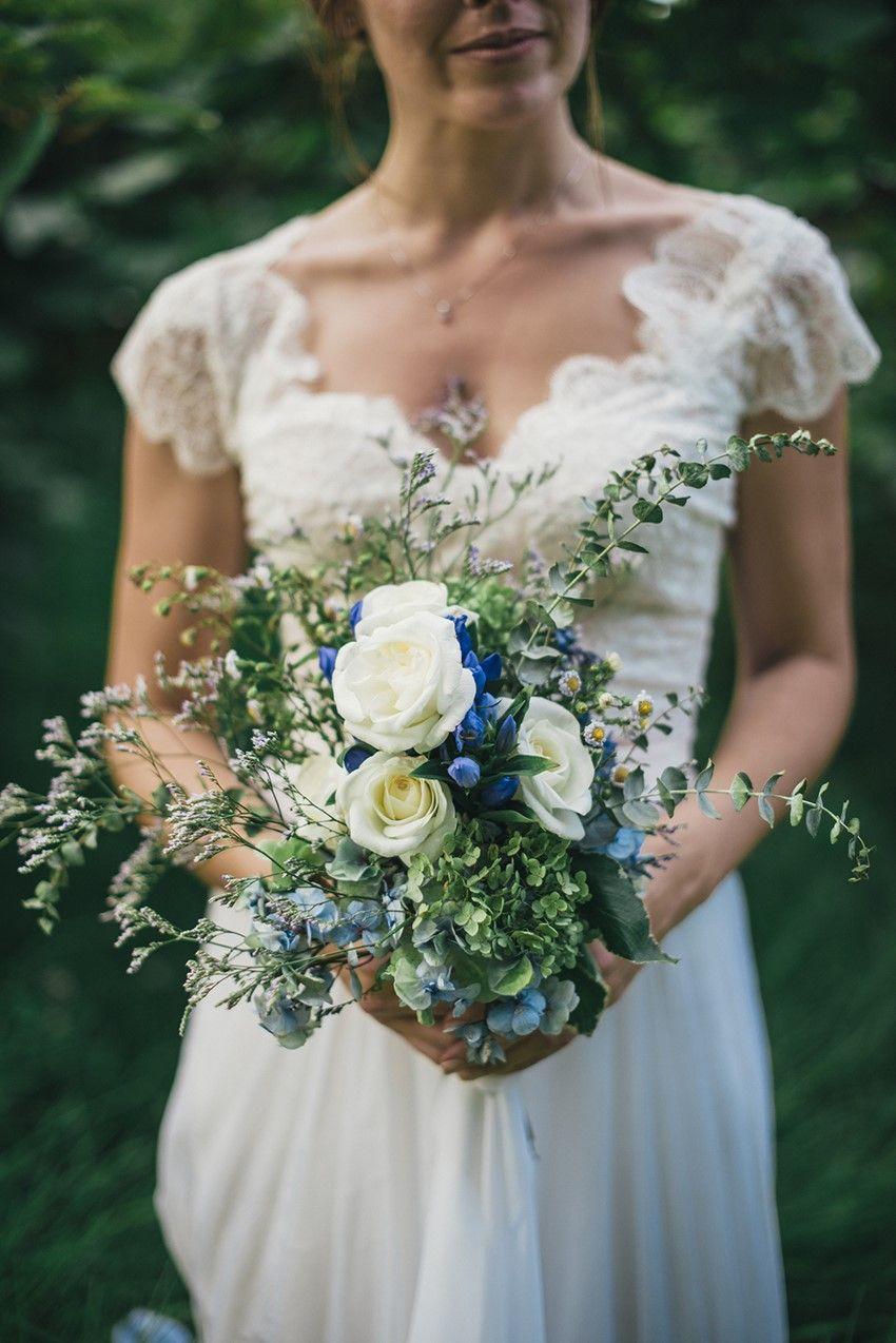A Boho Vintage Beach Wedding In New Zealand Chic Vintage Brides Vintage Beach Weddings Blue Wedding Bouquet Ombre Wedding Dress [ 1274 x 850 Pixel ]