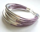 Build Your Own Stackable Bangle Bracelet Set You Choose Color and Silver or Gold Accents-Boho Bracelet, Bohemian Jewelry, Leather Wrap. $3.00, via Etsy.
