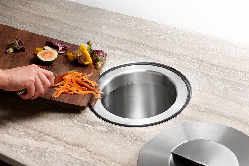 Kitchen Design Idea Include A Trash Chute In Your Counter Easy
