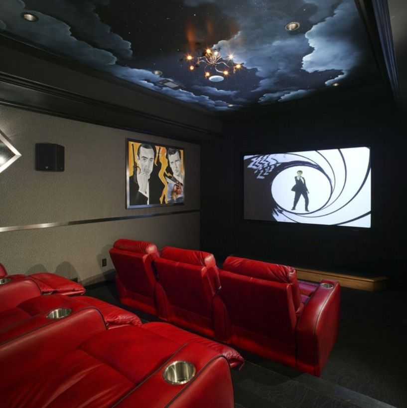 Basement Home Theater With Red Seats And Ceiling Mural Ideas for