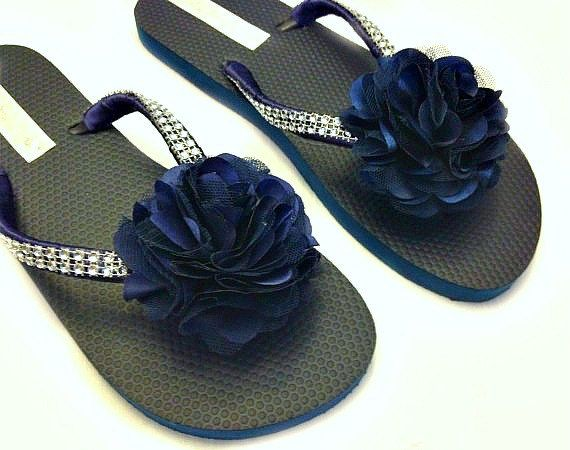 ae3a46cdade Bridesmaid Flip Flops - Bridal Flip Flops - Navy Blue Flip Flops ...