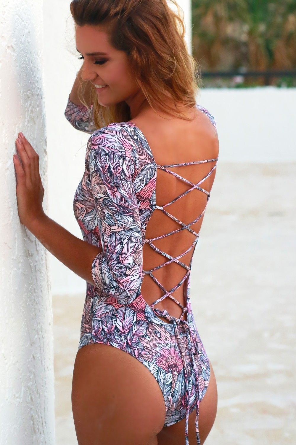 473cfb890b6d4 Long Sleeve One Piece Swimsuit Multi, A twist on a classic one piece! With