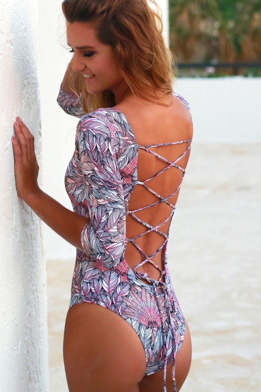 49311f8835 Long Sleeve One Piece Swimsuit Multi in 2019