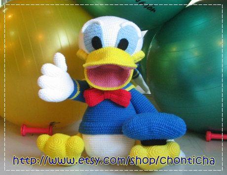 Amigurumi Duck Tutorial : Giant donald duck inches pdf amigurumi crochet pattern