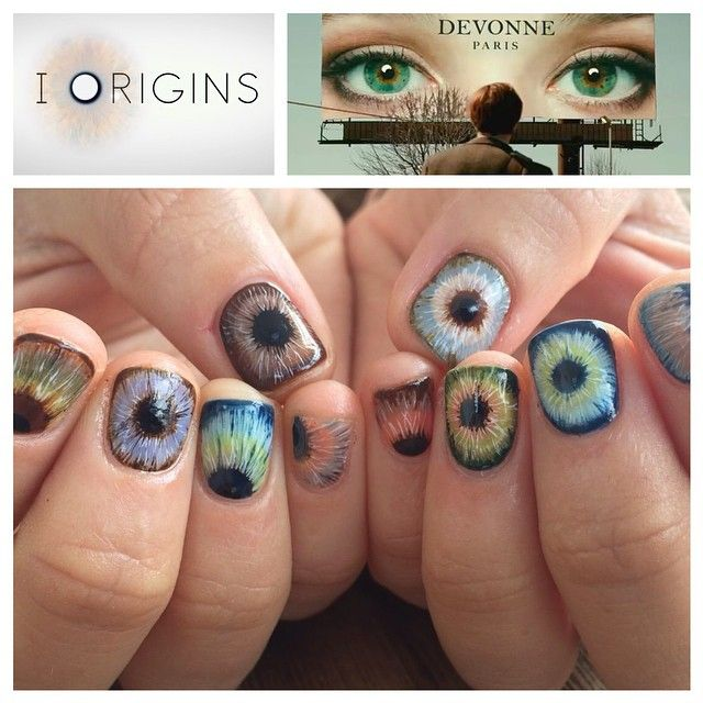 "Did you see this movie ""I ORIGINS""? 👀 so many different eye ball👀 #nailsbymei for my beautiful friend @danaraea #meisfavorite #movie #iorigins"