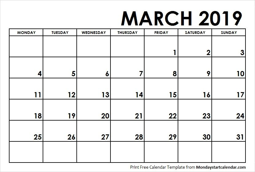 March 2019 Calendar Monday Start Weekly Calendar Calendar