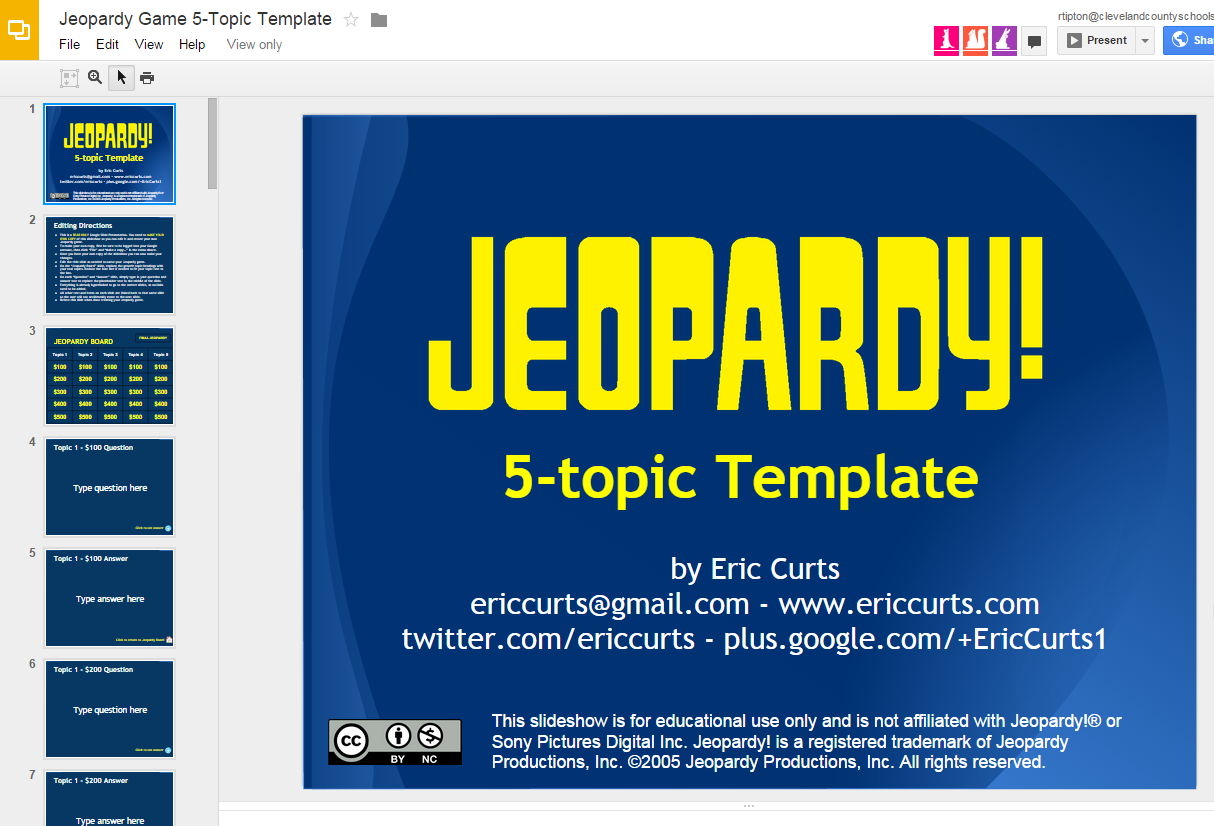 Template For Google Slides Jeopardy Class Games Westward