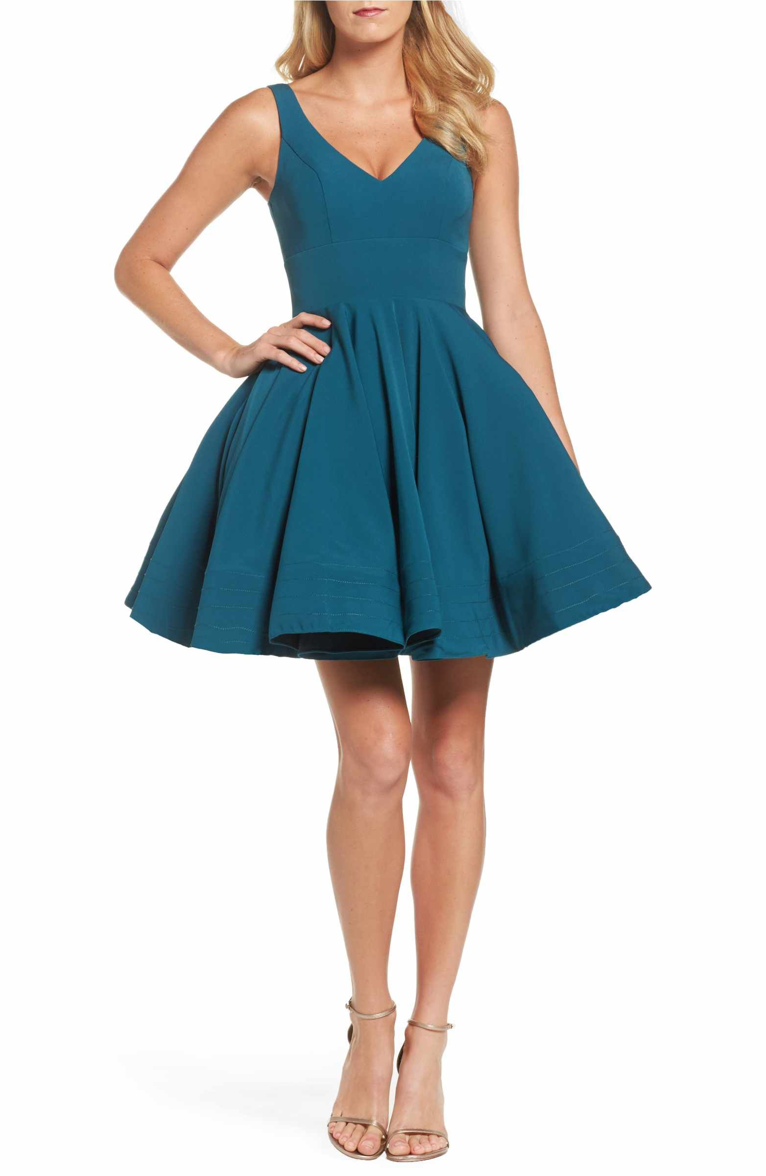 Double V-Neck Fit & Flare Party Dress | Macs and Sorority