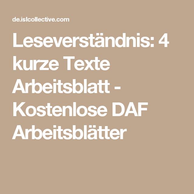 Leseverständnis: 4 kurze Texte Arbeitsblatt - Kostenlose DAF ...