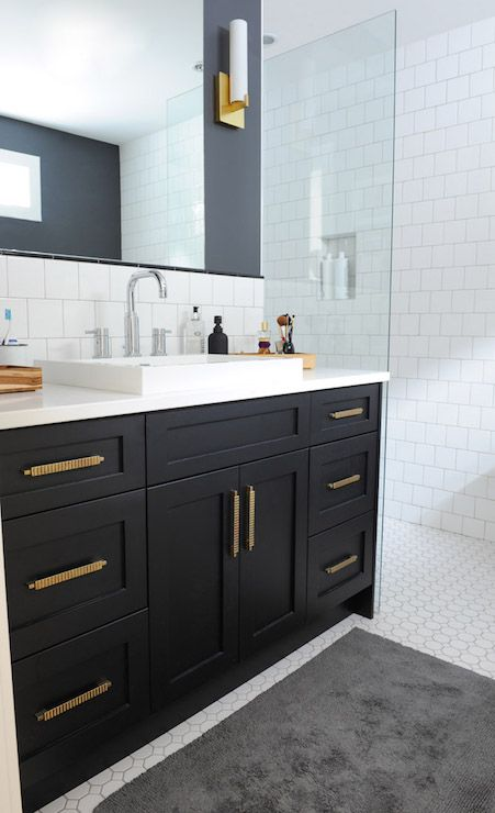 Black Bathroom Vanity with Gold Hardware, Vintage