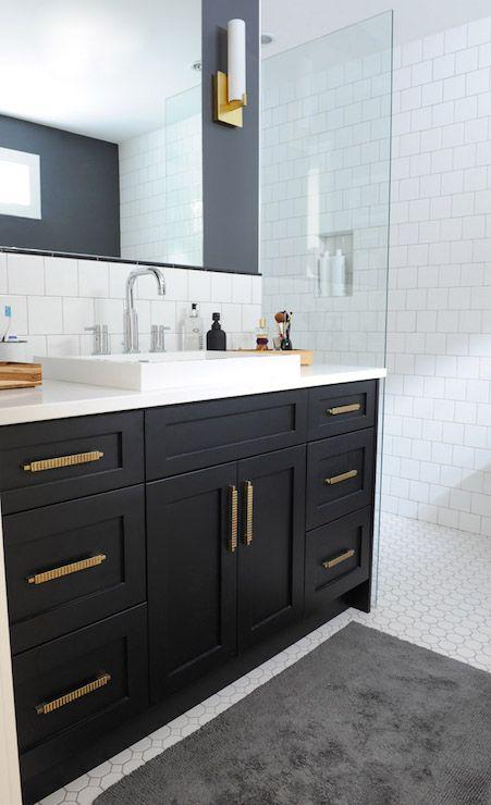 black bathroom vanity with gold hardware, vintage, bathroom