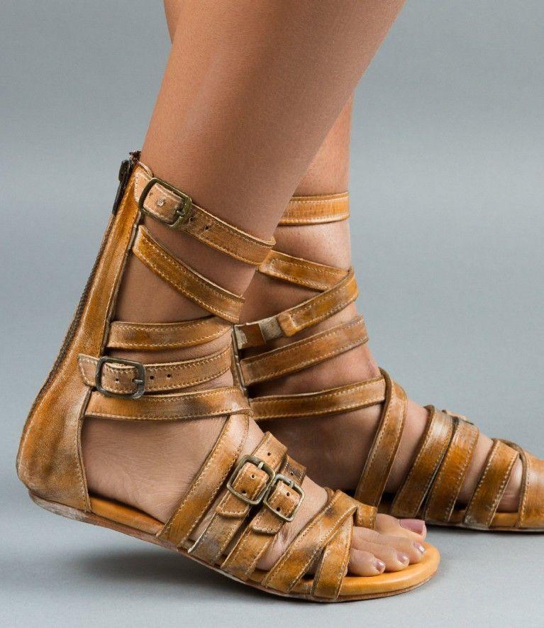 Bed Stu Seneca Gladiator Flat Leather Sandals ae5Vwu018