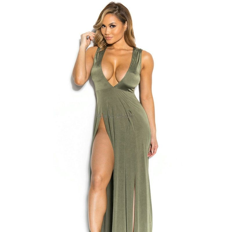 08945b9140e Summer 2017 Sexy deep V-neck Women Dress plunging neckline Big Girl female  bodycon front Slit Split maxi Charming Dresses