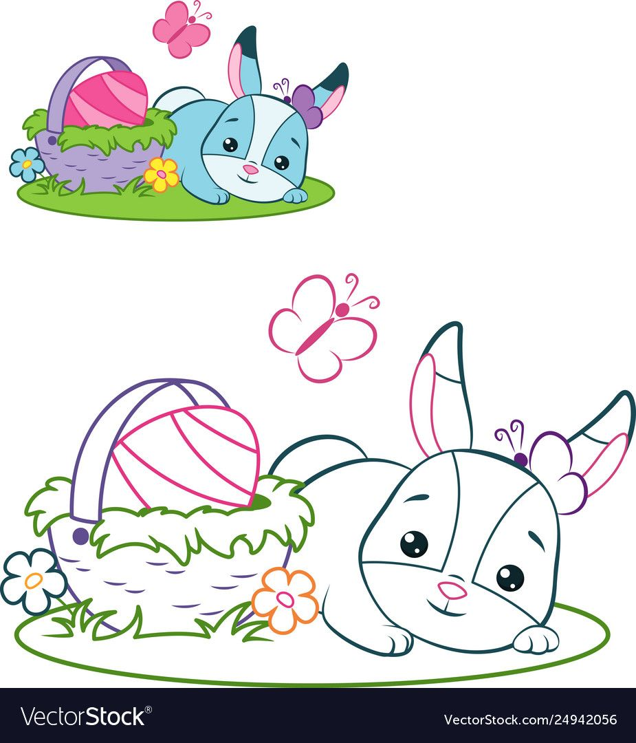 Easter bunny coloring page vector image on