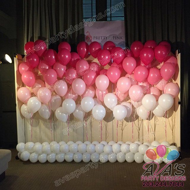 Floating Ombre Pink Balloon Walls Pink And White Balloon Decor