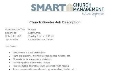 church greeter volunteer job description church managment