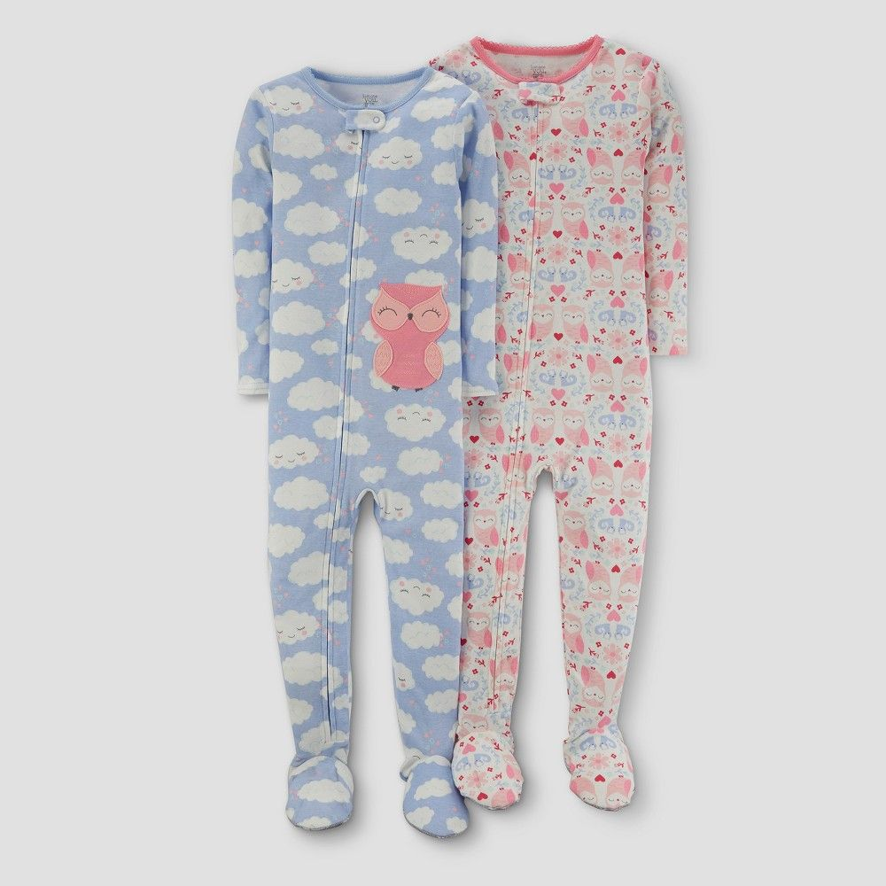 d8b887e7cc1c Baby Girls  2pk Clouds Owl One Piece Cotton Pajama - Just One You ...