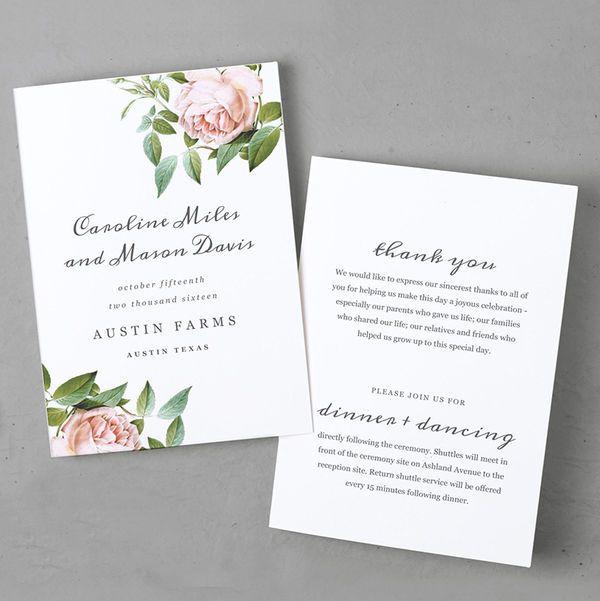 Wedding Program With Botanical Illustration Of Roses  Wedding