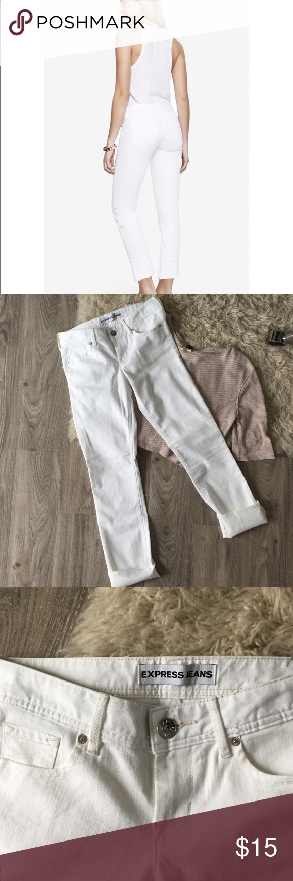 Express White Skinny Jeans Like new white jeans by Express in low-rise Stella cut. Featuring a cute wide cuff but can also be folded down. Express Jeans Skinny