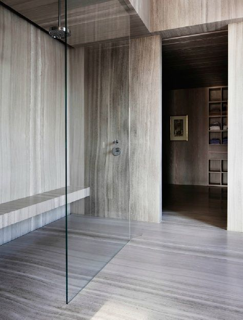 Minimalist bathroom fantastic use of stone space open - Which uses more water bath or shower ...