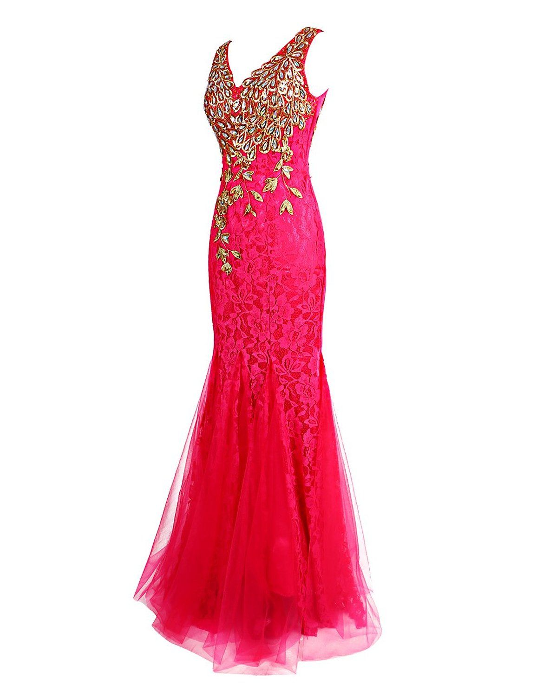 Dresstells long lace mermaid prom dress with appliques wedding