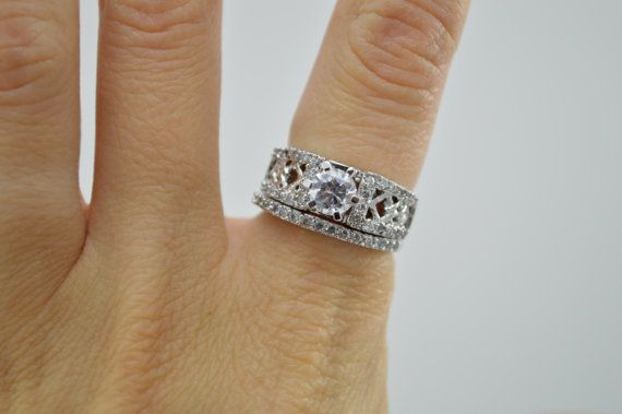 CLEARANCE SALE: Unique Engagement Ring Set - Wedding Ring ...