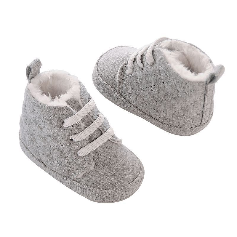 Baby Girl Carter's Quilted Jersey Faux-Fur Lined Crib Shoes, Size: 9-12MONTHS, Grey