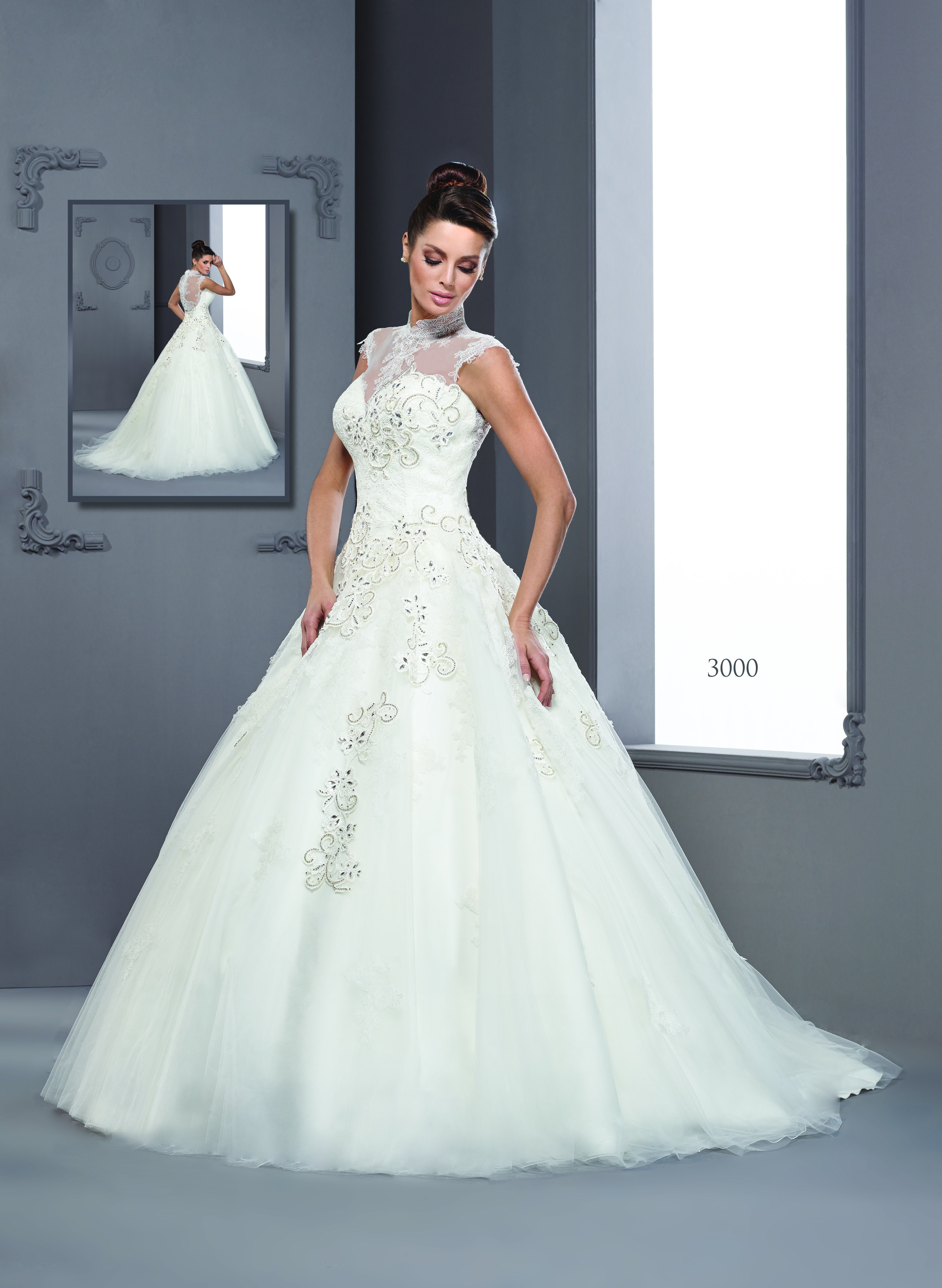 Halter style sleeveless bridal gowns by darius couture custom