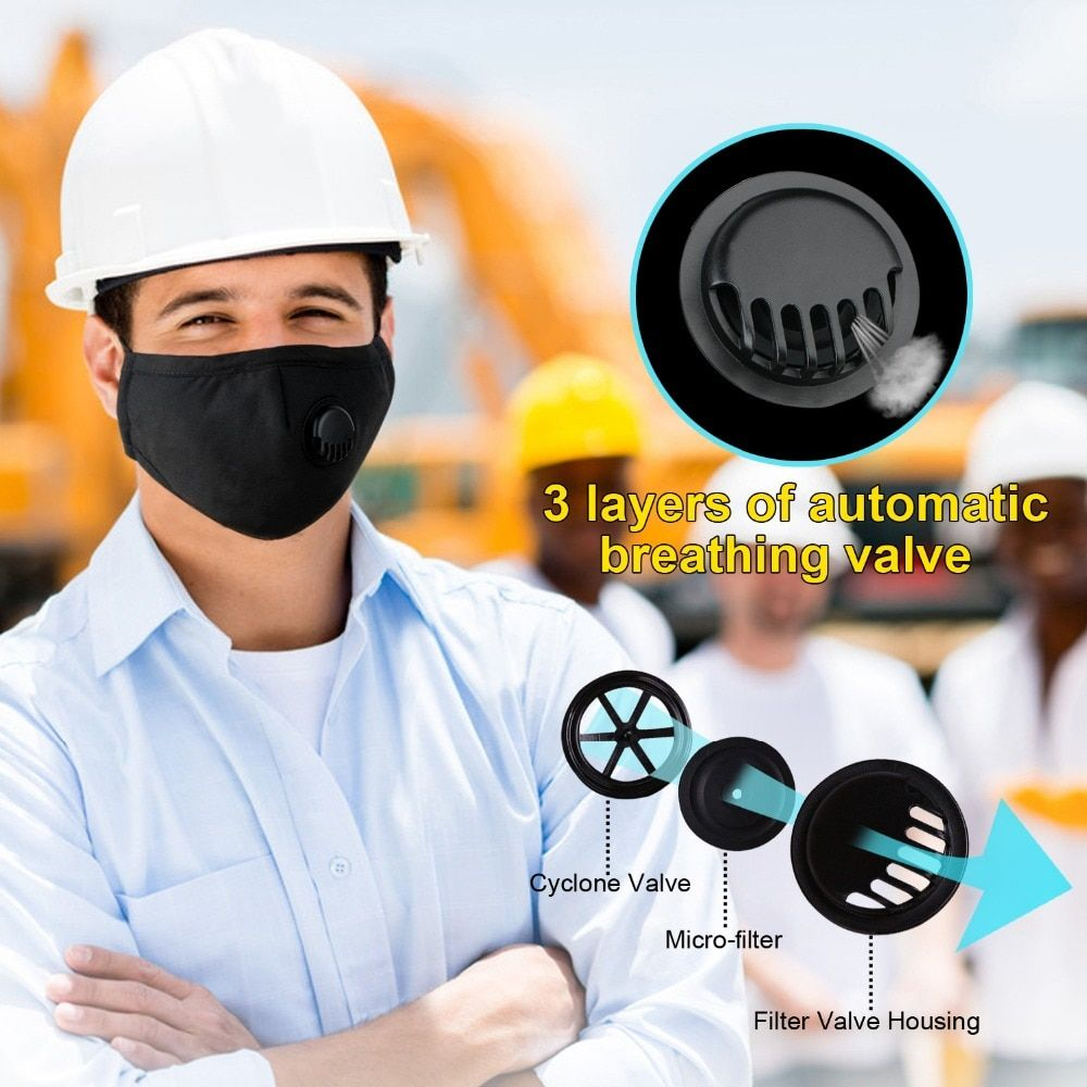 Mask + 10 Filters! Cotton PM2.5 with Breath Valve and