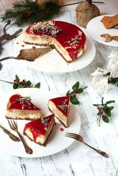 Christmas Cheesecake mit Marzipan, Spekulatius, Lebkuchen und Glühwein