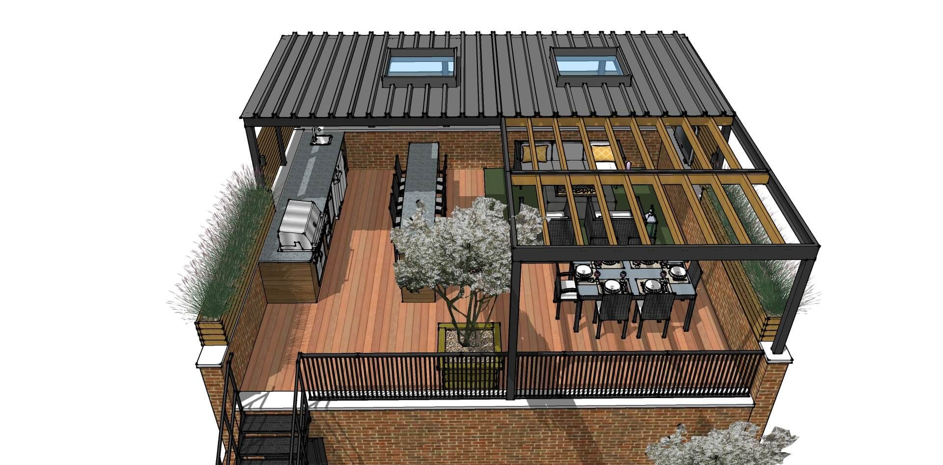 We Updated This Outdated Space In A Rooftop Deck Oasis For Our Client Modernizing The Space Was Done By Ad Rooftop Design Deck Renovation Rooftop Patio Design