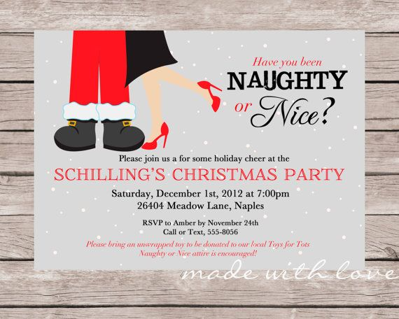 Naughty Or Nice A Christmas Holiday Party Invitation 5x7
