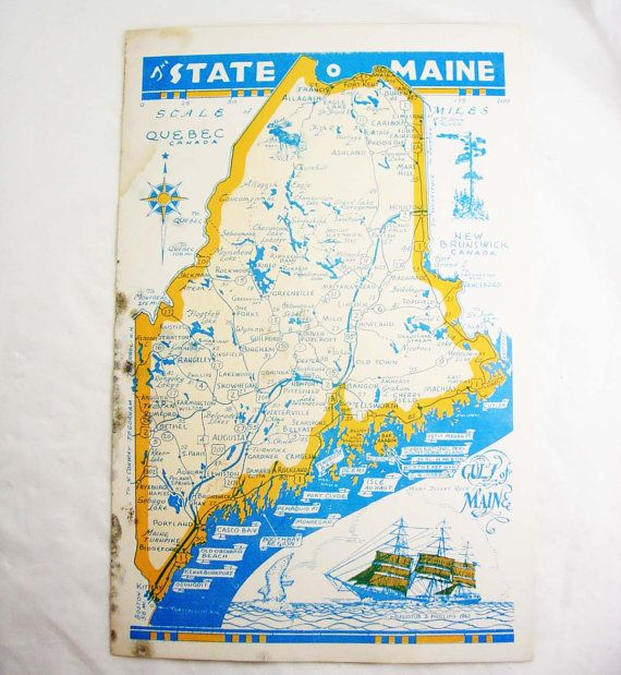 Vintage Road Map MAINE State of Tourist Old Orchard Beach Booth - blank road map
