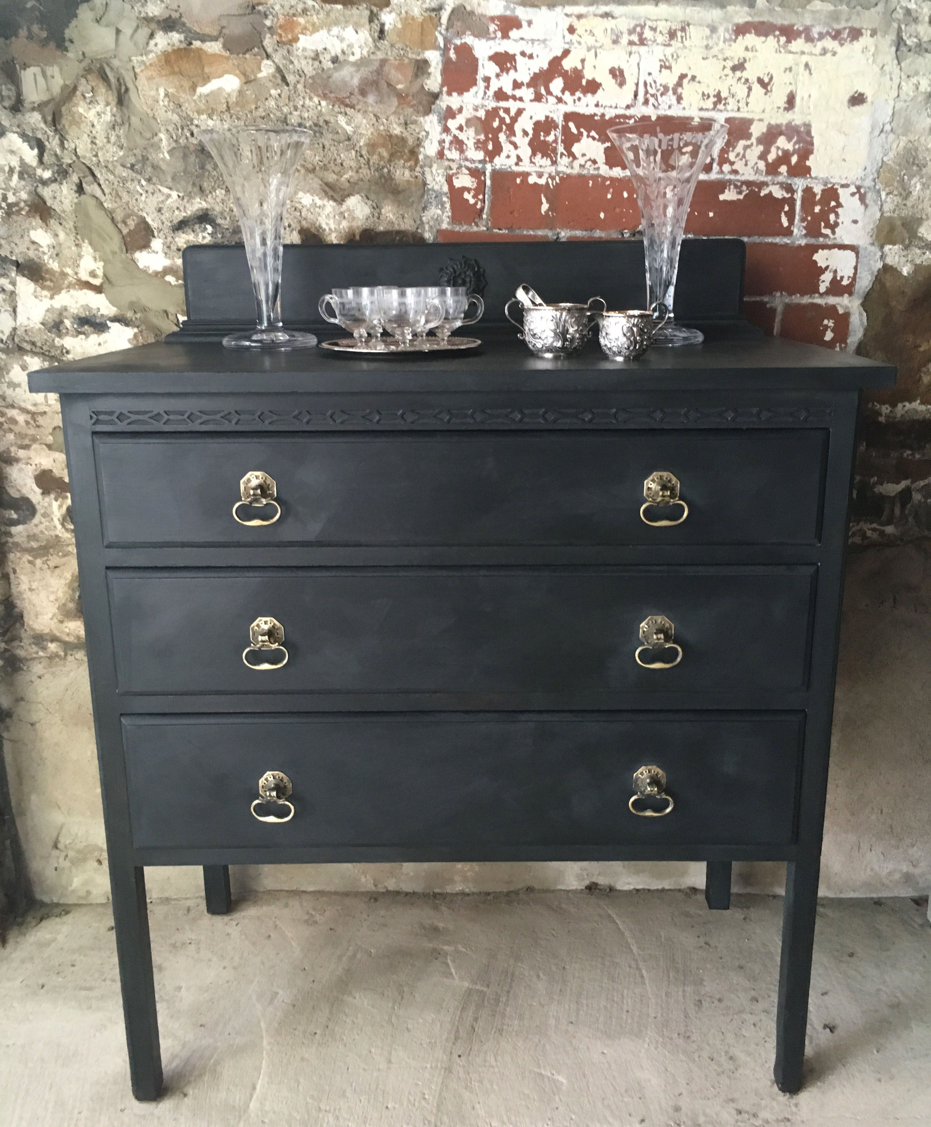 Vintage Nearly Black Painted Chest Of Drawers Www Sallywhitedesigns Co Uk