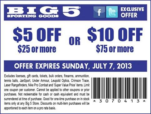 10 Off 75 5 Off 25 Big 5 Printable Coupon Printable Coupons Big 5 Sporting Goods Fun Sports