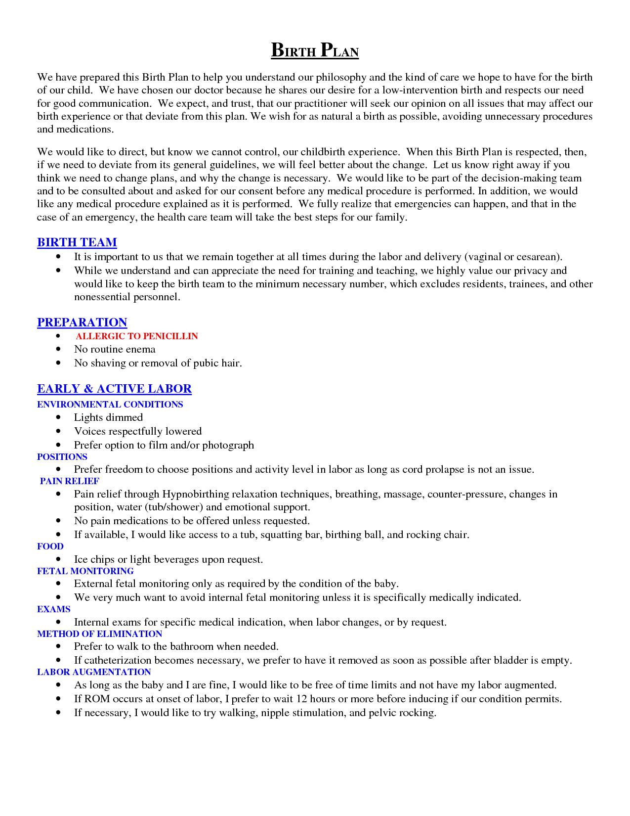 scope of work template Birth plan, Birth plan template
