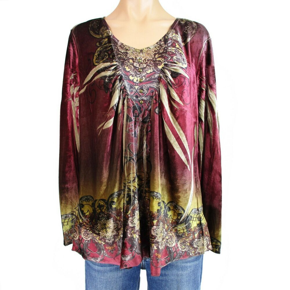 New Womens Plus Size Top Ladies Floral Print Smock Tunic Shirt Denim Paisley